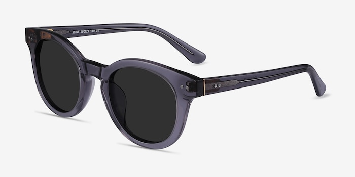 Seine Gray Acetate Sunglass Frames from EyeBuyDirect, Angle View