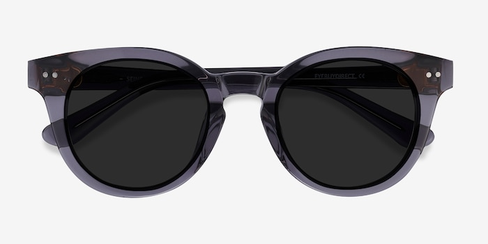 Seine Gray Acetate Sunglass Frames from EyeBuyDirect, Closed View