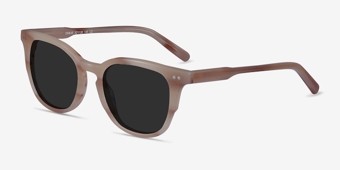 Emilie Brown Striped Acetate Sunglass Frames from EyeBuyDirect, Angle View