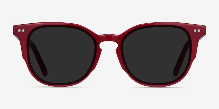 Emilie Burgundy Acetate Sunglass Frames from EyeBuyDirect, Front View