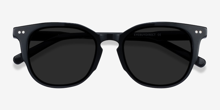 Emilie Black Acetate Sunglass Frames from EyeBuyDirect, Closed View