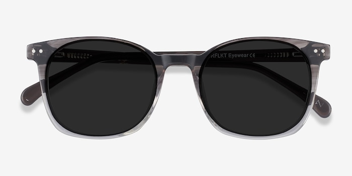 Soleil Striped Acetate Sunglass Frames from EyeBuyDirect, Closed View