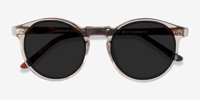 Luminance Champagne Acetate Sunglass Frames from EyeBuyDirect, Closed View