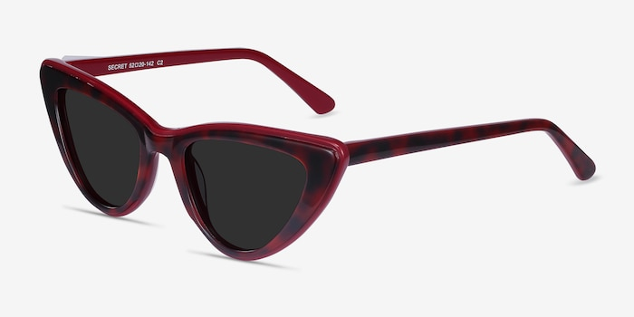 Secret Burgundy Tortoise Acetate Sunglass Frames from EyeBuyDirect, Angle View