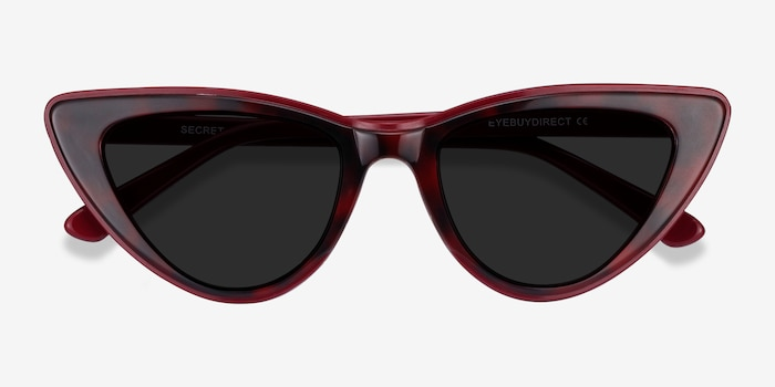 Secret Burgundy Tortoise Acetate Sunglass Frames from EyeBuyDirect, Closed View