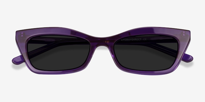 Suite Purple Acetate Sunglass Frames from EyeBuyDirect, Closed View
