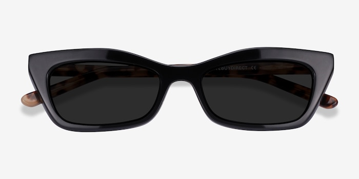 Suite Black Acetate Sunglass Frames from EyeBuyDirect, Closed View
