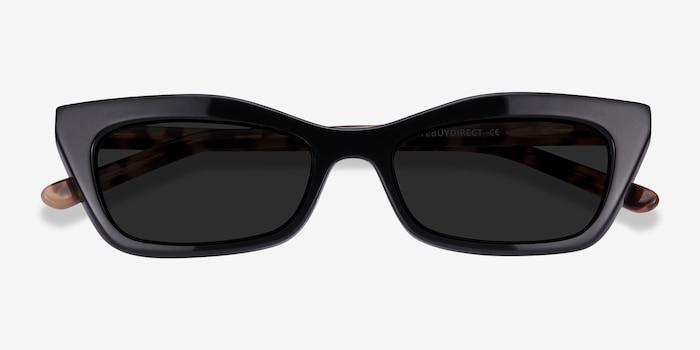 Suite Noir Acétate Soleil de Lunettes d'EyeBuyDirect, Vue Rapprochée