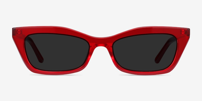 Suite Red Acetate Sunglass Frames from EyeBuyDirect, Front View