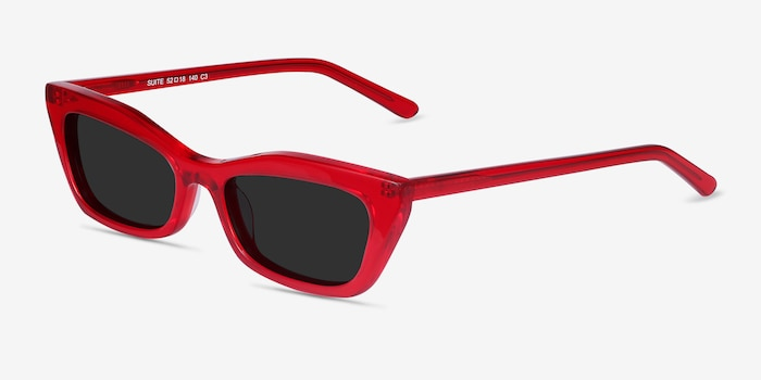 Suite Red Acetate Sunglass Frames from EyeBuyDirect, Angle View