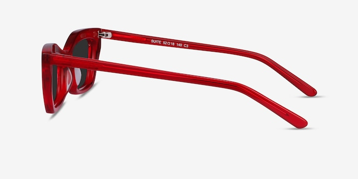 Suite Red Acetate Sunglass Frames from EyeBuyDirect, Side View