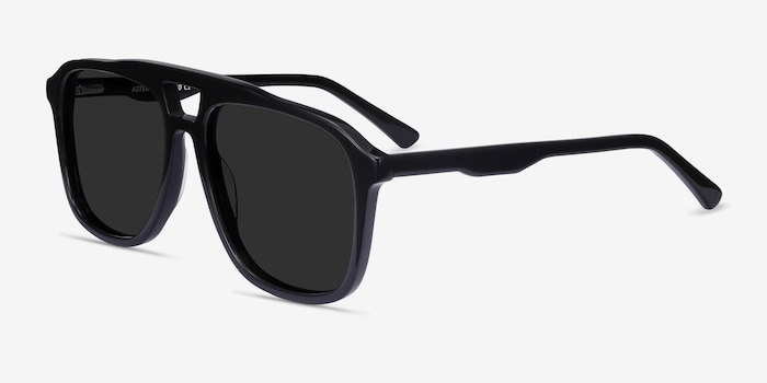 Aster Black Acetate Sunglass Frames from EyeBuyDirect, Angle View