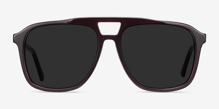 Aster Dark Burgundy Acetate Sunglass Frames from EyeBuyDirect, Front View