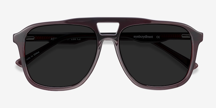 Aster Dark Burgundy Acetate Sunglass Frames from EyeBuyDirect, Closed View