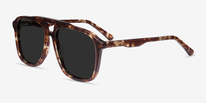 Aster Light Tortoise Acetate Sunglass Frames from EyeBuyDirect, Angle View
