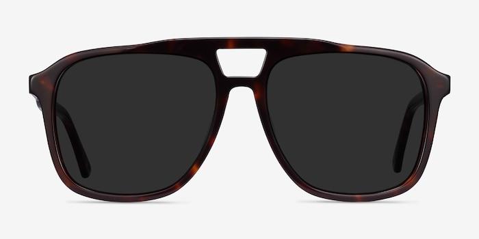 Aster Écaille Noire Acétate Soleil de Lunettes d'EyeBuyDirect, Vue de Face