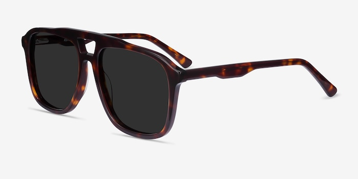 Aster Dark Tortoise Acetate Sunglass Frames from EyeBuyDirect, Angle View