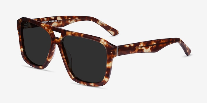 Bauhaus Havana Tortoise Acetate Sunglass Frames from EyeBuyDirect, Angle View