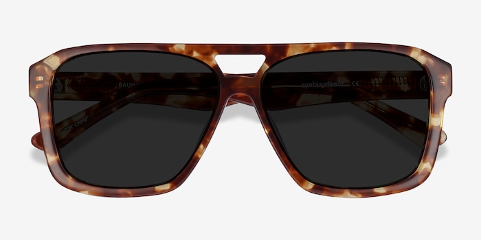 Bauhaus Havana Tortoise Acetate Sunglass Frames from EyeBuyDirect, Closed View