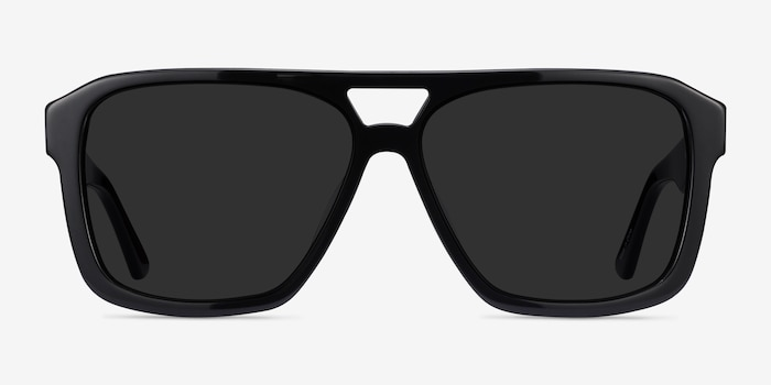 Bauhaus Black Acetate Sunglass Frames from EyeBuyDirect, Front View