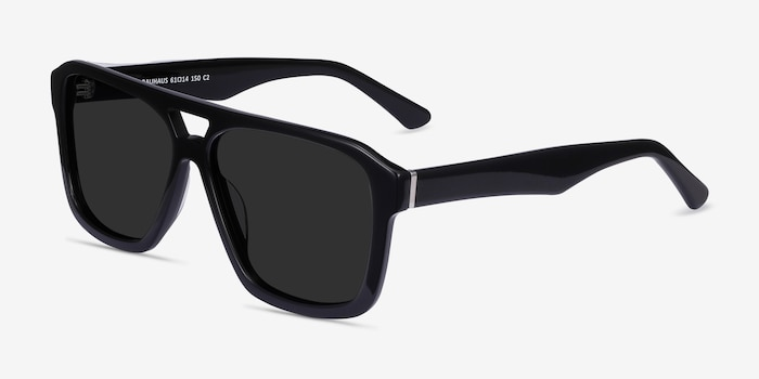 Bauhaus Black Acetate Sunglass Frames from EyeBuyDirect, Angle View