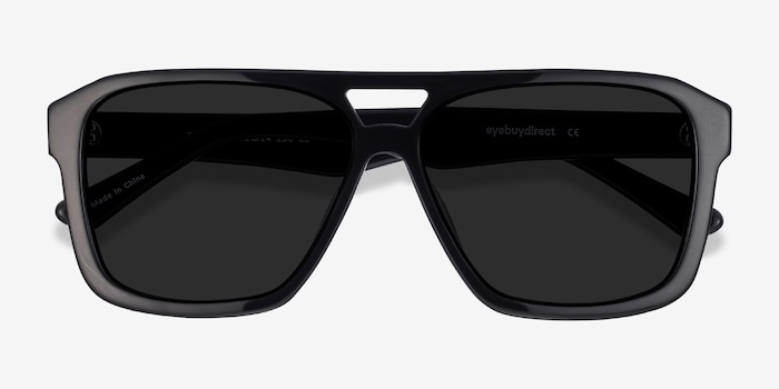 Bauhaus Black Acetate Sunglass Frames from EyeBuyDirect, Closed View