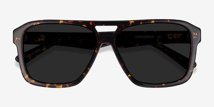 Bauhaus Dark Tortoise Acetate Sunglass Frames from EyeBuyDirect, Closed View