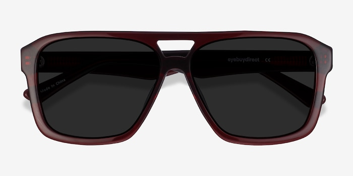 Bauhaus Burgundy Acetate Sunglass Frames from EyeBuyDirect, Closed View
