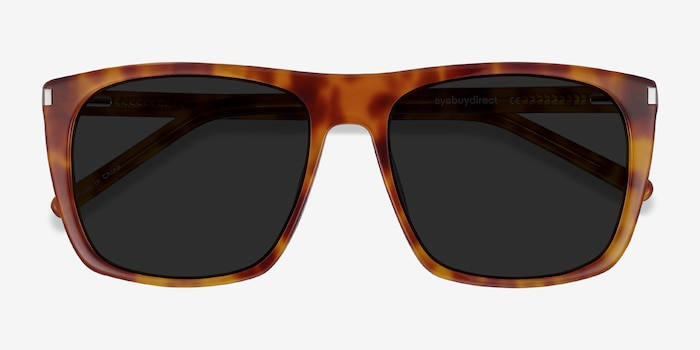 Jim Light Tortoise Acetate Sunglass Frames from EyeBuyDirect, Closed View