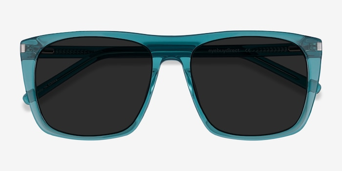 Jim Teal Acetate Sunglass Frames from EyeBuyDirect, Closed View
