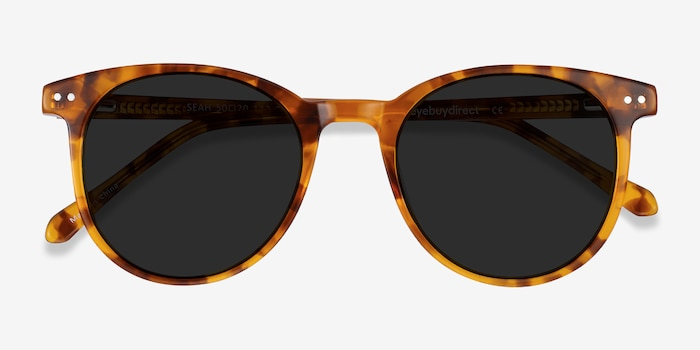 Seah Warm Tortoise Acetate Sunglass Frames from EyeBuyDirect, Closed View