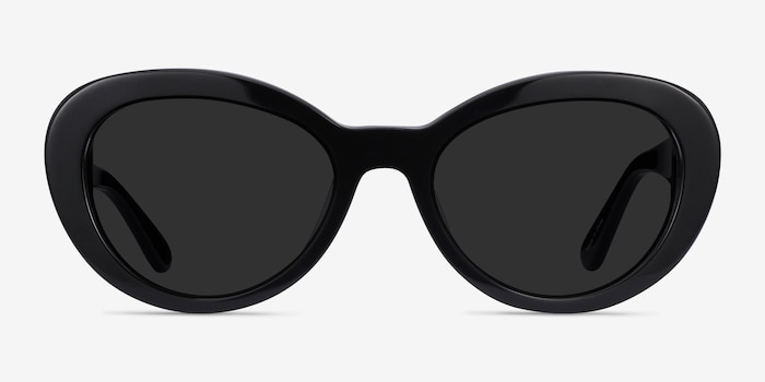Elle Black Acetate Sunglass Frames from EyeBuyDirect, Front View