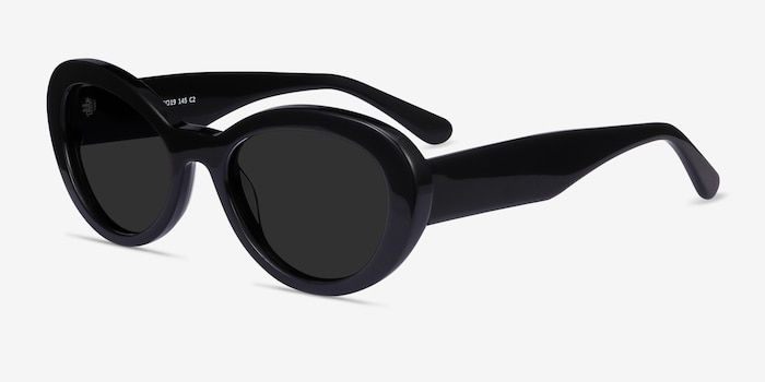 Elle Black Acetate Sunglass Frames from EyeBuyDirect, Angle View