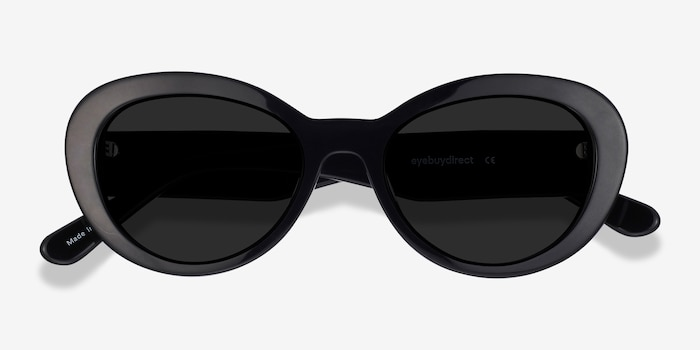 Elle Black Acetate Sunglass Frames from EyeBuyDirect, Closed View
