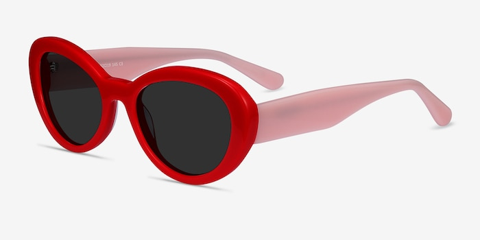 Elle Red & Pink Acetate Sunglass Frames from EyeBuyDirect, Angle View