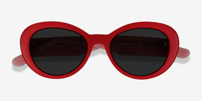 Elle Red & Pink Acetate Sunglass Frames from EyeBuyDirect, Closed View