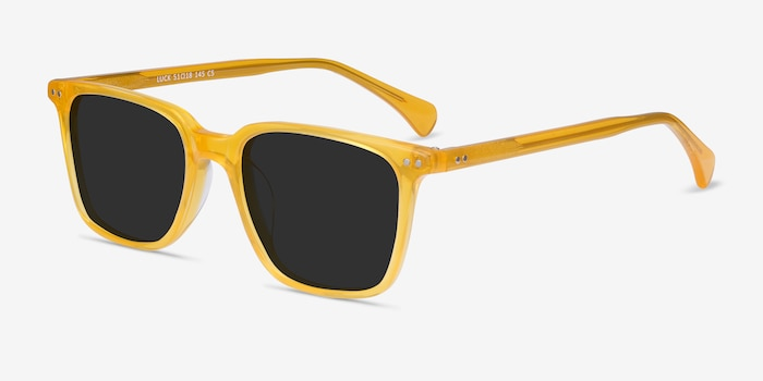 Luck Yellow Acetate Sunglass Frames from EyeBuyDirect, Angle View