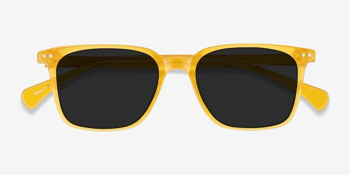 Luck Yellow Acetate Sunglass Frames from EyeBuyDirect, Closed View