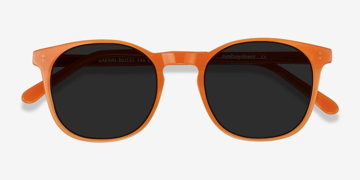 Safari Orange Acetate Sunglass Frames from EyeBuyDirect, Closed View