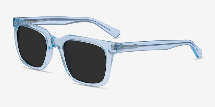 Riddle Clear Blue Acetate Sunglass Frames from EyeBuyDirect, Angle View