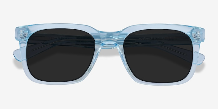 Riddle Clear Blue Acetate Sunglass Frames from EyeBuyDirect, Closed View