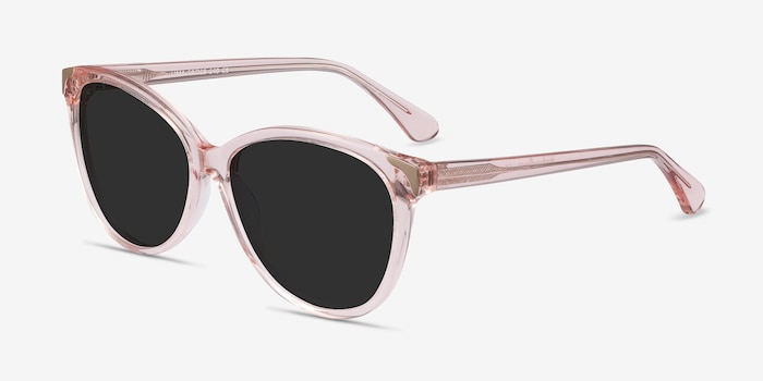 Lima Clear Pink Acetate Sunglass Frames from EyeBuyDirect, Angle View