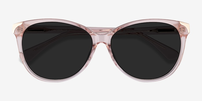 Lima Clear Pink Acetate Sunglass Frames from EyeBuyDirect, Closed View