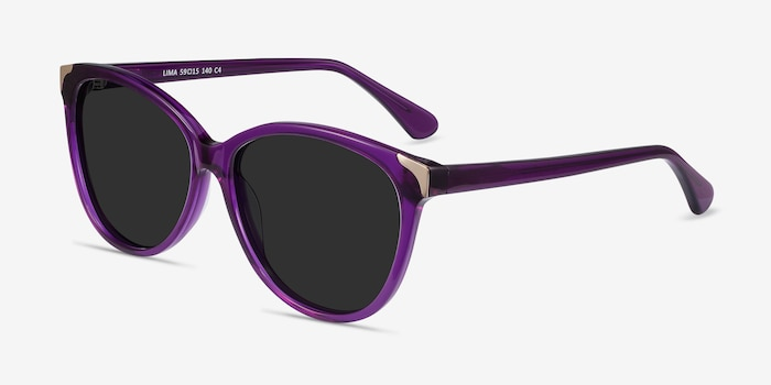 Lima Purple Acetate Sunglass Frames from EyeBuyDirect, Angle View