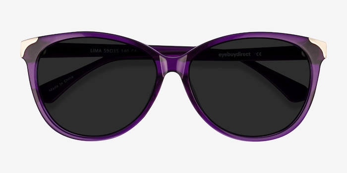 Lima Purple Acetate Sunglass Frames from EyeBuyDirect, Closed View