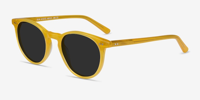Sun Kyoto Yellow Acetate Sunglass Frames from EyeBuyDirect, Angle View