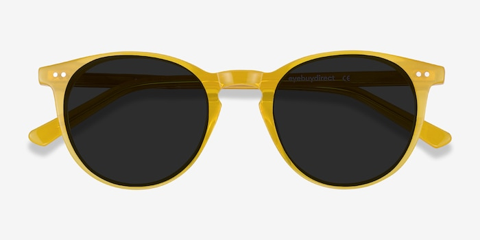 Sun Kyoto Yellow Acetate Sunglass Frames from EyeBuyDirect, Closed View