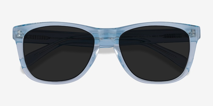 Malibu Clear Blue Acetate Sunglass Frames from EyeBuyDirect, Closed View