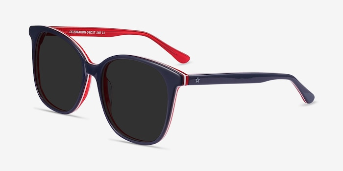 Celebration Navy & Red Acetate Sunglass Frames from EyeBuyDirect, Angle View