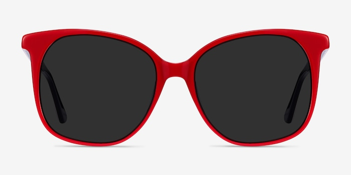 Celebration Red & Navy Acetate Sunglass Frames from EyeBuyDirect, Front View